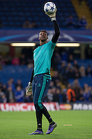 Goalkeeper Jamal Blackman of Chelsea during warm up during the UEFA Champions League Group G match between Chelsea and Dynamo Kyiv at Stamford Bridge, London, England on 4 November 2015. Photo by Andy Rowland.