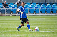 SAN JOSE, CA - APRIL 24: Eric Remedi #5 of the San Jose Earthquakes passes the ball during a game between FC Dallas and San Jose Earthquakes at PayPal Park on April 24, 2021 in San Jose, California.