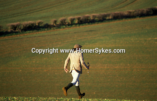 Hunting hare. Four Shires Bassett Hounds Oxfordshire England. Hunting with Hounds. Whipper In follows the hounds.
