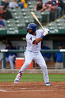 South Bend Cubs Jonathan Sierra (32) at bat during a Midwest League game against the Cedar Rapids Kernels at Four Winds Field on May 8, 2019 in South Bend, Indiana. South Bend defeated Cedar Rapids 2-1. (Zachary Lucy/Four Seam Images)