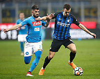 Calcio, Serie A: Inter - Napoli, Milano, stadio Giuseppe Meazza (San Siro), 11 marzo 2018.<br /> Inter's Ivan Perisic (r) in action with Elseid Hysaj (l) during the Italian Serie A football match between Inter Milan and Napoli at Giuseppe Meazza (San Siro) stadium, March 11, 2018.<br /> UPDATE IMAGES PRESS/Isabella Bonotto