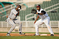 Kannapolis first baseman Brandon Allen (36) waits for a pick-off throw as Hagerstown second baseman Jonathan Castro (12) heads back to the bag at Fieldcrest Cannon Stadium in Kannapolis, NC, Sunday, August 12, 2007.
