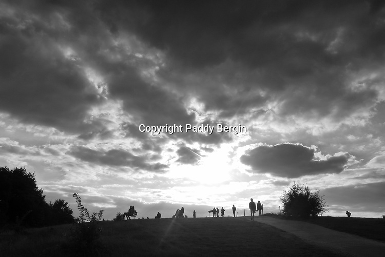 Parliament Hill is an area of open parkland in the south-east corner of Hampstead Heath in north-west London. The hill, which is 98 metres (322 ft) high, is notable for its views of the capital's skyline.<br /> <br /> Stock Photo by Paddy Bergin