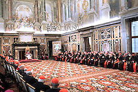 Pope Benedict XVI during the audience to the Curia for Christmas greetings, in the Sala Clementina of the Apostolic Palace, in the Vatican City, 22 December 2011