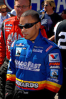 Apr 9, 2006; Las Vegas, NV, USA; NHRA Top Fuel driver J.R. Todd, driver of the Menards Top Fuel dragster prior to the start of final eliminations at the SummitRacing.com Nationals at Las Vegas Motor Speedway in Las Vegas, NV. Mandatory Credit: Mark J. Rebilas