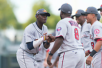 AFL East outfielder Daz Cameron (13), of the Mesa Solar Sox and Detroit Tigers organization, shakes hands with manager Tommy Watkins (8) during player introductions before the Arizona Fall League Fall Stars game at Surprise Stadium on November 3, 2018 in Surprise, Arizona. The AFL West defeated the AFL East 7-6 . (Zachary Lucy/Four Seam Images)