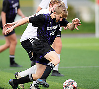 Waunakee's Charlie Steck brings the ball up the pitch, as Oregon takes on Waunakee in Wisconsin WIAA Badger Conference boys high school soccer on Tuesday, Apr. 27, 2021 at Waunakee High School
