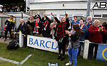 Aberystwyth Town 1 Newtown 2, 17/05/2015. Park Avenue, Europa League Play Off final. Newtown's fans celebrate at full time. Aberystwyth finished 14 points above Newtown in the Welsh Premier League, but were beaten 1-2 in the Play Off Final. Photo by Paul Thompson.