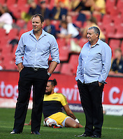JOHANNESBURG, SOUTH AFRICA - APRIL 30: John Plumtree (Hurricanes assistant Coach) with Chris Boyd (Hurricanes Head Coach) during the Super Rugby match between Emirates Lions and Hurricanes at Emirates Airline Park on April 30, 2016 in Johannesburg, South Africa. (Photo by Steve Haag)