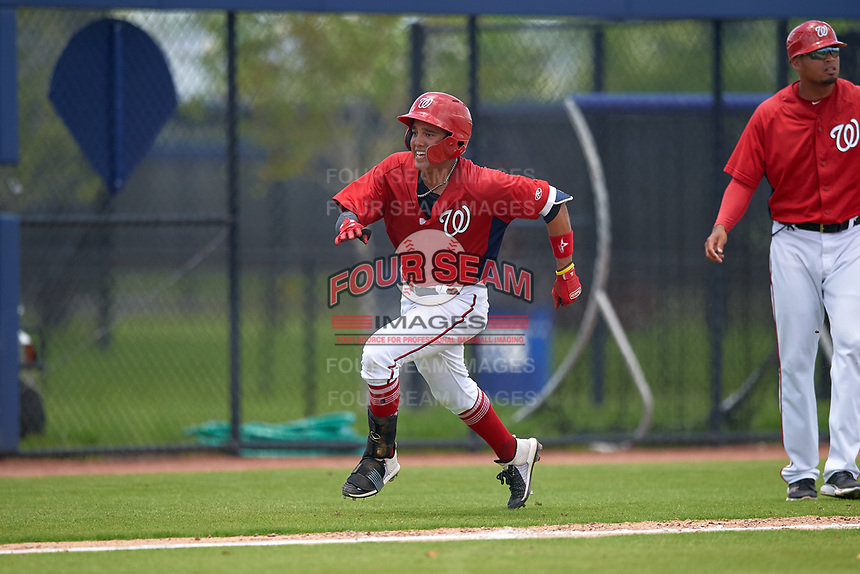 GCL Nationals Anthony Gomez (3) running the bases during a Gulf Coast League game against the GCL Astros on August 9, 2019 at FITTEAM Ballpark of the Palm Beaches training complex in Palm Beach, Florida.  GCL Nationals defeated the GCL Astros 8-2.  (Mike Janes/Four Seam Images)