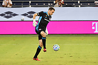 KANSAS CITY, KS - SEPTEMBER 02: Kyle Zobeck #30 of FC Dallas controls a back pass during a game between FC Dallas and Sporting Kansas City at Children's Mercy Park on September 02, 2020 in Kansas City, Kansas.