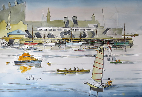 The Carlisle Pier could be a wonderful site for a cultural, heritage and interpretive centre on the Carlisle Pier that would evoke the rich history of Dun Laoghaire. Impression by Marine Artist and Round the World Sailor Pete Hogan