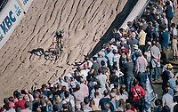 race leader (and eventual race winner) Maud Kaptheijns (NED/Crelan-Charles) in the infamous Zonhoven 'Kuil' (or 'Pit')<br /> <br /> Elite Women's Race<br /> CX Super Prestige Zonhoven 2017