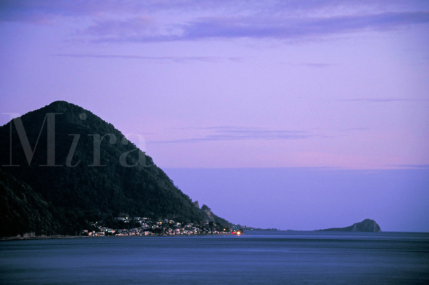 View of Point Michel & Scot Head from Roseau, island of Dominica , West Indies. Scots Head, Dominica West Indies.