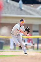 Connecticut Tigers third baseman Joey Pankake (46) throws to first during the second game of a doubleheader against the Batavia Muckdogs on July 20, 2014 at Dwyer Stadium in Batavia, New York.  Connecticut defeated Batavia 2-0.  (Mike Janes/Four Seam Images)