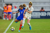 Orlando City, FL - Wednesday March 07, 2018: Svenja Huth, Marion Torrent during a 2018 SheBelieves Cup match between the women's national teams of Germany (GER) and France (FRA) at Orlando City Stadium.