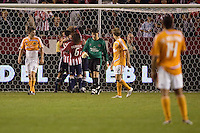 Houston Dynamo's players look on after Chivas USA's Jim Curtin scores a goal to tie the game.  Chivas defender Jim Curtin (l) and Jesse Marsch (r). The Houston Dynamo and Chivas USA played to a 1-1 tie at Home Depot Center stadium in Carson, California on Saturday October 25, 2008. Photo by Michael Janosz/isiphotos.com