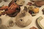 Israel, Tel Aviv, Crusader tableware from Apollonia at the Eretz Israel Museum