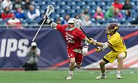 Foxborough, Massachusetts - May 27, 2018: NCAA Division III tournament final. Wesleyan University (red) defeated Salisbury University (yellow), 8-6, at Gillette Stadium.