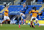 St Johnstone v Motherwell…21.11.20   McDiarmid Park      SPFL<br />Stevie May's shot is blocked by Bevis Mugabe<br />Picture by Graeme Hart.<br />Copyright Perthshire Picture Agency<br />Tel: 01738 623350  Mobile: 07990 594431