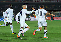 Landon Donovan and teammates celebrate his 62nd mintue penalty kick, which leveled the score. Ghana defeated the U.S., 2-1, in extra time to advance to the quarterfinals, Saturday, June 26th, at the 2010 FIFA World Cup in South Africa..