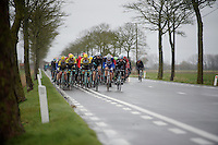 the whole peloton gets blown to one side by fearsome winds<br /> <br /> 77th Gent-Wevelgem 2015