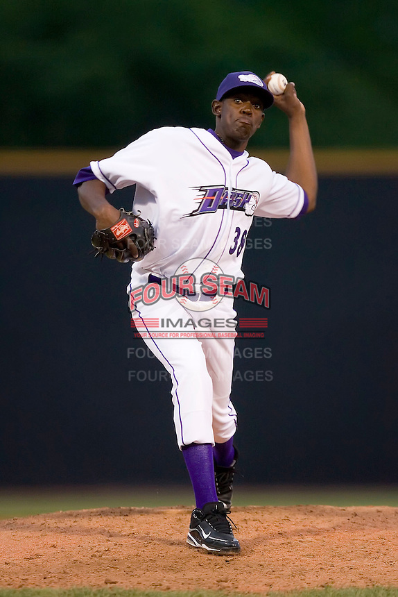 Relief pitcher Wander Perez #38 of the Winston-Salem Dash in action versus the Potomac Nationals at Wake Forest Baseball Stadium May 8, 2009 in Winston-Salem, North Carolina. (Photo by Brian Westerholt / Four Seam Images)