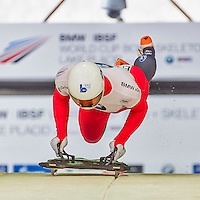 9 January 2016: Marco Rohrer, competing for Switzerland, pushes off for his first and only run start of the BMW IBSF World Cup Skeleton race at the Olympic Sports Track in Lake Placid, New York, USA. Rohrer had a run time of 56.66 and did not have a second run. Mandatory Credit: Ed Wolfstein Photo *** RAW (NEF) Image File Available ***
