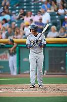 Cristhian Adames (13) of the New Orleans Baby Cakes bats against the Salt Lake Bees at Smith's Ballpark on June 8, 2018 in Salt Lake City, Utah. Salt Lake defeated New Orleans 4-0.  (Stephen Smith/Four Seam Images)