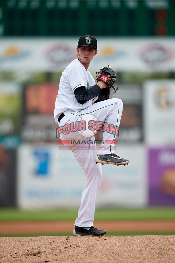 Clinton LumberKings starting pitcher Nick Wells (18) delivers a pitch during a game against the Lansing Lugnuts on May 9, 2017 at Ashford University Field in Clinton, Iowa.  Lansing defeated Clinton 11-6.  (Mike Janes/Four Seam Images)