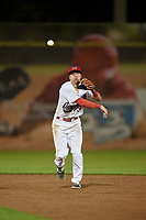 Auburn Doubledays second baseman Brandon Boggetto (3) throws to first base to try to complete a double play during a game against the Connecticut Tigers on August 8, 2017 at Falcon Park in Auburn, New York.  Auburn defeated Connecticut 7-4.  (Mike Janes/Four Seam Images)