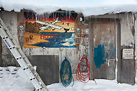 Icicles on the roof of the entrance to Waldo Arms hotel in the Inupiat village of Kaktovik, Alaska.