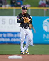 Nolan Fontana (4) of the Salt Lake Bees on defense against the Sacramento River Cats in Pacific Coast League action at Smith's Ballpark on April 13, 2017 in Salt Lake City, Utah.   Salt Lake defeated Sacramento 4-3. (Stephen Smith/Four Seam Images)