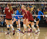 STANFORD, CA - NOVEMBER 17: Stanford, CA - November 17, 2019: Kathryn Plummer, Jenna Gray, Meghan McClure at Maples Pavilion. #4 Stanford Cardinal defeated UCLA in straight sets in a match honoring neurodiversity. during a game between UCLA and Stanford Volleyball W at Maples Pavilion on November 17, 2019 in Stanford, California.