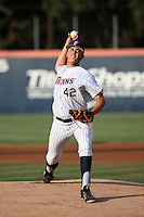 Gavin Velasquez (42) of the Cal State Fullerton Titans pitches against the University of San Diego Toreros at Goodwin Field on April 5, 2016 in Fullerton, California. Cal State Fullerton defeated University of San Diego, 4-2. (Larry Goren/Four Seam Images)