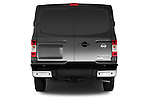 Straight rear view of a 2014 Nissan NV 3500 HD cargo van