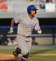 Outfielder Anthony Howard (15) of the Burlington Royals, Appalachian League affiliate of the Kansas City Royals, in a game against the Kingsport Mets on August 20, 2011, at Hunter Wright Stadium in Kingsport, Tennessee. Kingsport defeated Burlington, 17-14. (Tom Priddy/Four Seam Images)
