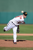 Mesa Solar Sox pitcher Robert Benincasa (41), of the Washington Nationals organization, during an Arizona Fall League game against the Scottsdale Scorpions on October 15, 2013 at HoHoKam Park in Mesa, Arizona.  Mesa defeated Scottsdale 7-4.  (Mike Janes/Four Seam Images)