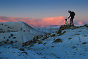 15/01/16<br /> <br /> Rod Kirkpatrick watches the sunrise with his 15-month-old springer Spaniel, Chester.<br /> <br /> After a dusting of snow and sub-zero overnight temperatures, dawn breaks over Chrome Hill in the upper Dove Valley in the Derbyshire Peak District.<br /> <br /> All Rights Reserved: F Stop Press Ltd. +44(0)1335 418365   www.fstoppress.com.