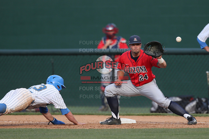 J.J. Matijevic (24) of the Arizona Wildcats takes a throw to first base during a game against the UCLA Bruins at Jackie Robinson Stadium on May 16, 2015 in Los Angeles, California. UCLA defeated Arizona, 6-0. (Larry Goren/Four Seam Images)