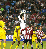 CARSON, CA – APRIL 9, 2011: Columbus Crew goalie William Hesmer (1) during the match between Chivas USA and Columbus Crew at the Home Depot Center, April 9, 2011 in Carson, California. Final score Chivas USA 0, Columbus Crew 0.