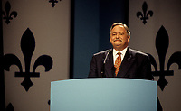 Montreal (QC) CANADA, October 30, 1995<br /> File Photo-<br /> Parti Quebecois (PQ) Leader Jacques Parizeau wave at PQ supporter during Referendum night at Montreal's Convention Centre, October 30, 1995.<br /> Parizeau blame the defeat on money and ethnic vote, he resigned few day later and was replaced by Lucien Bouchard<br /> <br /> <br /> Photo by Pierre Roussel / Images Distribution