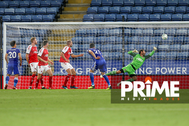 Vicente Iborra of Leicester City (centre) scores his team's second goal of the game during the English League Cup Round 2 Group North match between Leicester City and Fleetwood Town at the King Power Stadium, Leicester, England on 28 August 2018. Photo by David Horn.