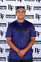 Raider Peralta (15) of Paramount High School in Lakewood, California during the Baseball Factory All-America Pre-Season Tournament, powered by Under Armour, on January 12, 2018 at Sloan Park Complex in Mesa, Arizona.  (Mike Janes/Four Seam Images)