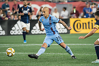 FOXBOROUGH, MA - SEPTEMBER 29: Alexandru Mitrita #28 of New York City FC passes the ball during a game between New York City FC and New England Revolution at Gillettes Stadium on September 29, 2019 in Foxborough, Massachusetts.