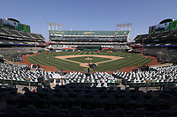 OAKLAND, CA - SEPTEMBER 29:  General wide angle interior view during Wild Card Round Game One between the Chicago White Sox and Oakland Athletics at the Oakland Coliseum on Tuesday, September 29, 2020 in Oakland, California. (Photo by Brad Mangin)