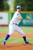 Burlington Royals starting pitcher Foster Griffin (55) in action against the Greeneville Astros at Burlington Athletic Park on June 29, 2014 in Burlington, North Carolina.  The Royals defeated the Astros 11-0. (Brian Westerholt/Four Seam Images)