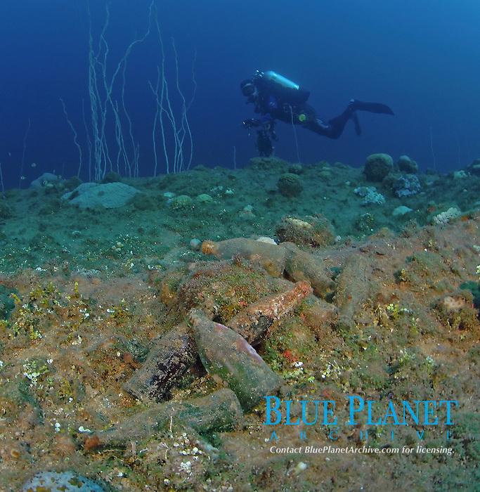 Soft drink bottles litter ship wrecks of Bikini Lagoon, Bikini Atoll, Marshall Islands, Micronesia, Pacific Ocean
