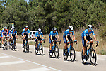 The peloton with Movistar Team during Stage 4 of La Vuelta d'Espana 2021, running 163.9km from Burgo de Osma to Molina de Aragon, Spain. 17th August 2021.    <br /> Picture: Luis Angel Gomez/Photogomezsport | Cyclefile<br /> <br /> All photos usage must carry mandatory copyright credit (© Cyclefile | Luis Angel Gomez/Photogomezsport)