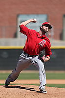 Alex Blackford #99 of the Los Angeles Angels pitches during a Minor League Spring Training Game against the Oakland Athletics at the Los Angeles Angels Spring Training Complex on March 17, 2014 in Tempe, Arizona. (Larry Goren/Four Seam Images)